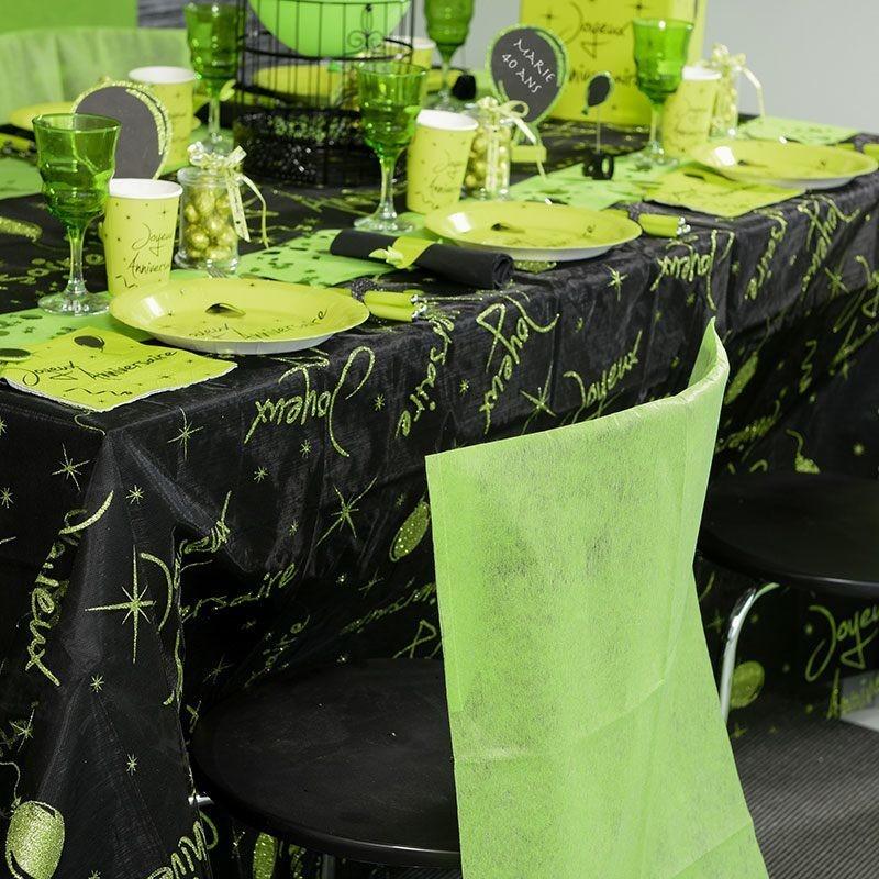 Nappe rectangulaire vert pailletée anniversaire - Dragées Anahita