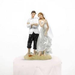 Figurine de mariage les pieds dans l'eau