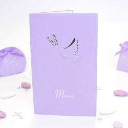 Menu colombe lilas avec impression pour communion
