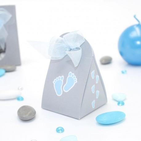 Contenant à dragées pied de bébé bleu
