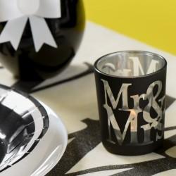 2 photophores blanc Thème Mr & Mrs