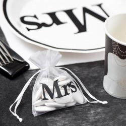 10 Sac Organza blanc Mrs thème Mr & Mrs