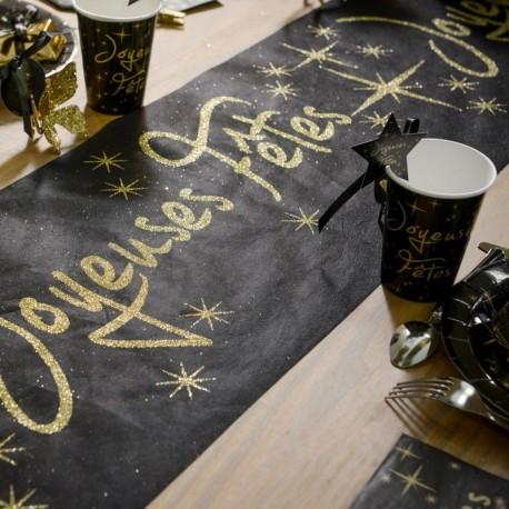 Chemin de table noir joyeuses fêtes