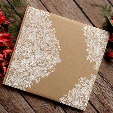 Livre d'or Kraft arabesque blanc