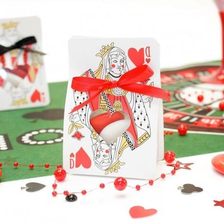 Contenant dragées Dame de coeur thème casino