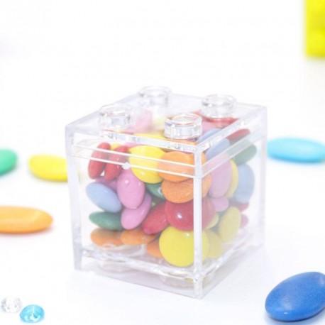 Contenant à dragées Lego transparent