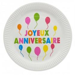 10 assiettes anniversaire multicolore