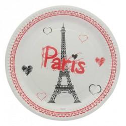10 assiettes jetables carton tour Eiffel