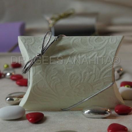 Pochette à dragées blanc motif fleur