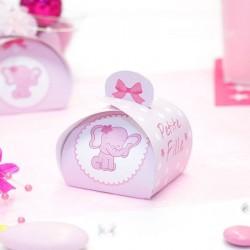 Petite boite à dragées Baby Shower éléphant fille