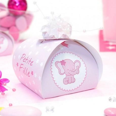 Grande boite à dragées Baby Shower éléphant fille