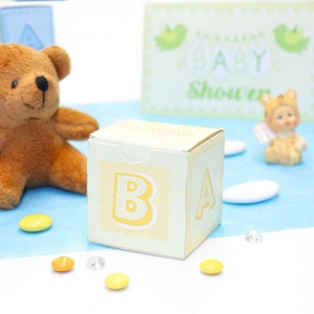Cube à dragées Baby Shower Jaune
