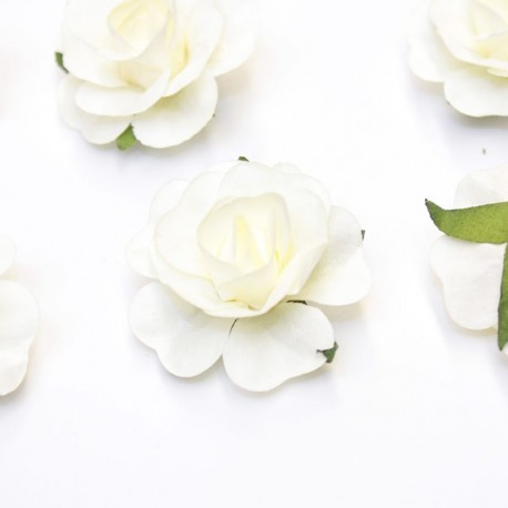 12 Roses autocollantes ivoires