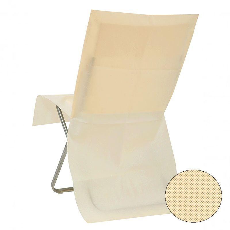 10 housses de chaise ivoire jetable opaque drag es anahita. Black Bedroom Furniture Sets. Home Design Ideas