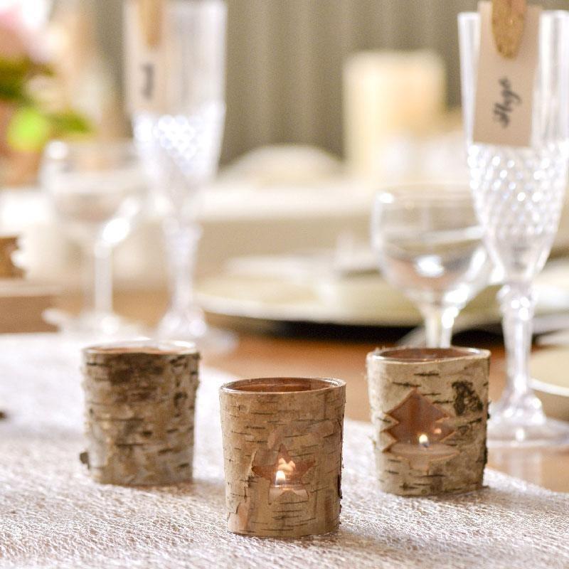 photophores no l en corces de bois pour d co de table drag es anahita. Black Bedroom Furniture Sets. Home Design Ideas