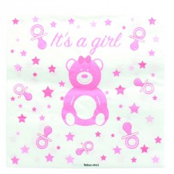 20 serviettes baby shower ou naissance Fille