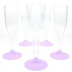 5 Flûtes à Champagne Lilas en plastique jetable