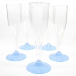 5 Flûtes à Champagne bleu ciel en plastique jetable