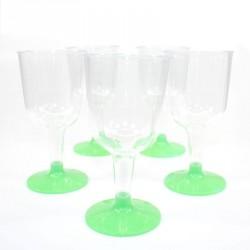 5 Verres à vin vert en plastique jetable