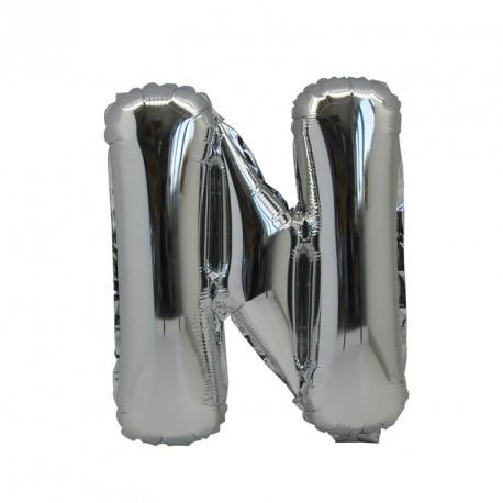 Ballon Lettre N métal argenté 36cm