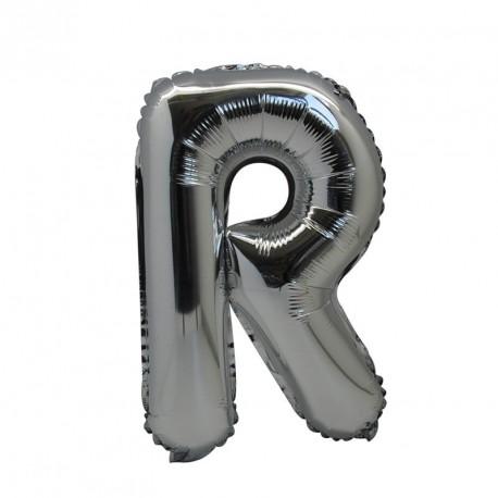 Ballon Lettre R métal argenté 36cm