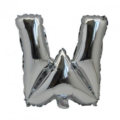 Ballon Lettre W métal argenté 36cm