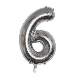 Ballon Chiffre 6 métal argenté 36cm