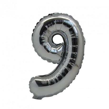 Ballon Chiffre 9 métal argenté 36cm
