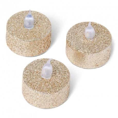 3 Bougies LED Pailletées Cuivre