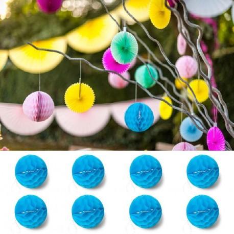 8 Boules Alvéoles 10 cm Turquoises