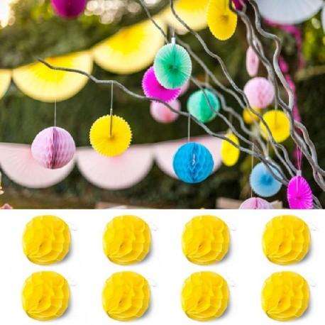 8 Boules Alvéoles 10 cm Jaune