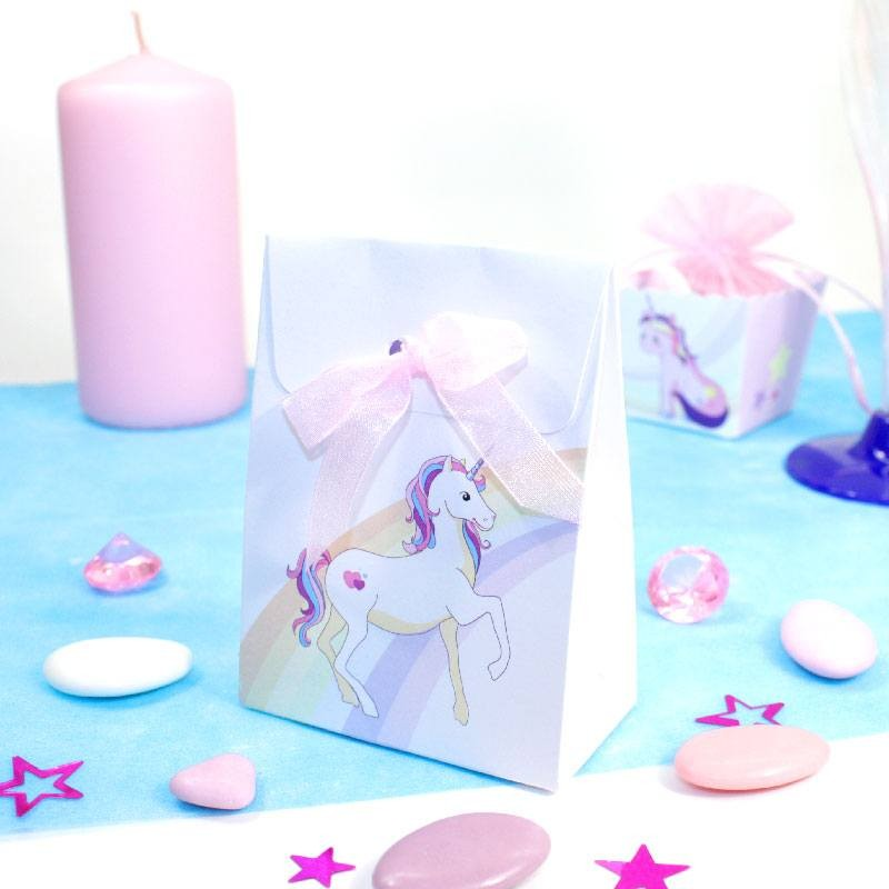 Préférence Pochettes à dragées Licorne arc en ciel pour baptême - Dragées Anahita MJ32