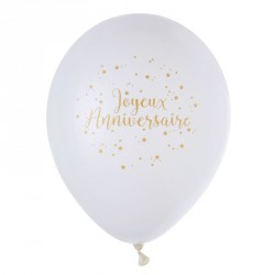 8 Ballons Joyeux Anniversaire blanc et or, incontournables