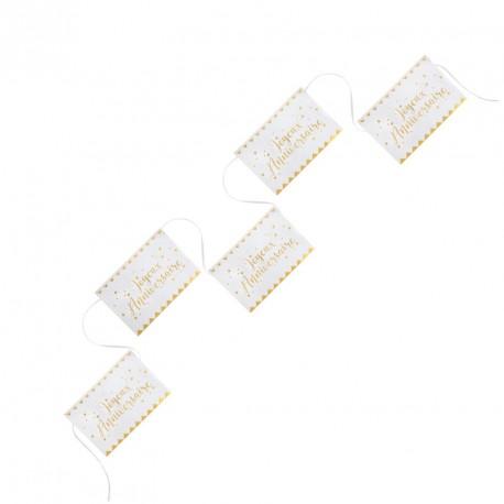Banderolle Joyeux Anniversaire blanche et or, pour la festivité