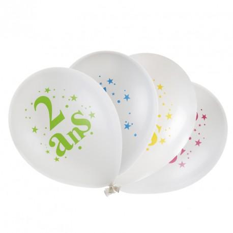 8 ballons Anniversaire 2 ans. Eléments de déco très festifs et colorés.