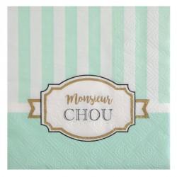 """20 serviettes Naissance ou baptême garçon """"Monsieur Chou"""", très originales."""