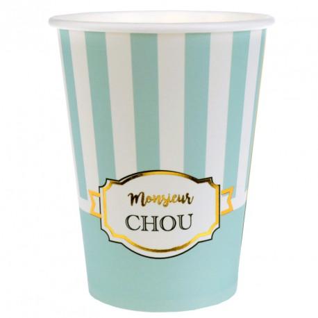 "10 Gobelets en carton ""Monsieur Chou"" pour les petits garçons."