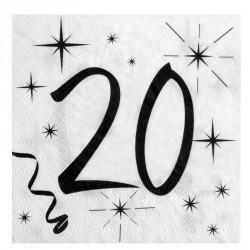 20 Serviettes Anniversaire 20 ans. Pratiques et élégantes.