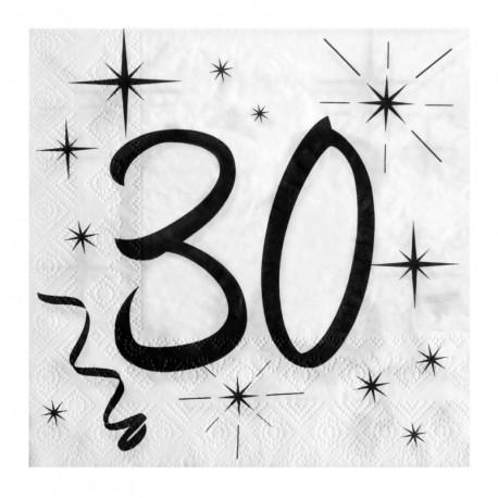 20 Serviettes Anniversaire 30 ans élégantes, pratiques et au design soigné.