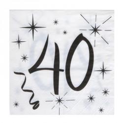 20 Serviettes Anniversaire 40 ans