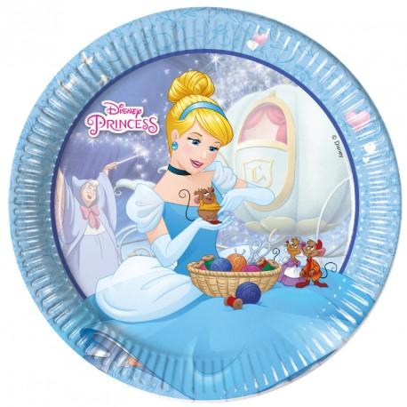 8 Assiettes assorties Princesses Disney. 1er assortiment : Cendrillon et ses amis.