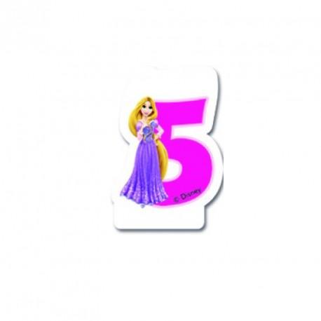 Bougie Princesses Disney chiffre 5 très originale et décorative.