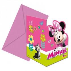 6 Cartes d'invitation Minnie + Enveloppe d'un design unique et soigné.