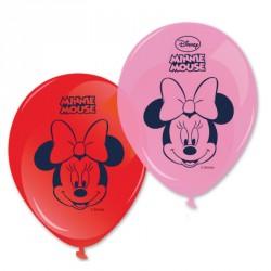 8 Ballons Minnie Assortis, dont 4 rouges et 4 roses. Très décoratifs.