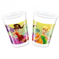 8 Gobelets Fée Clochette 20 cl, très résistants, pour servir les boissons fraîches aux petits invités.