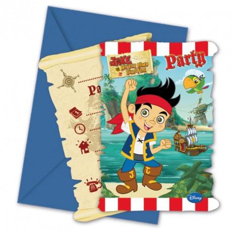 6 cartes d'invitation Jake le Pirate + Enveloppe pour prévenir les amis de votre garçon de sa fête d'anniversaire.
