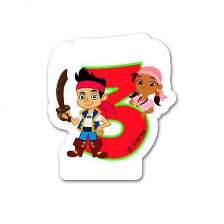 Bougie Jake le Pirate Chiffre 3 pour décorer et illuminer le gâteau.