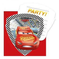 6 cartes d'invitation Cars + Enveloppe pour rappeler le thème de la fête aux invités.
