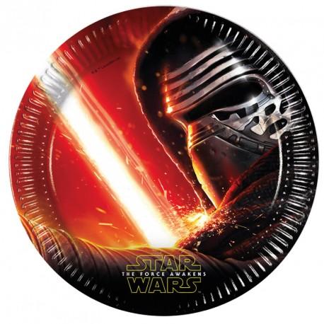 8 Assiettes Star Wars 23 cm pour servir les portions de gâteau à chaque invité.