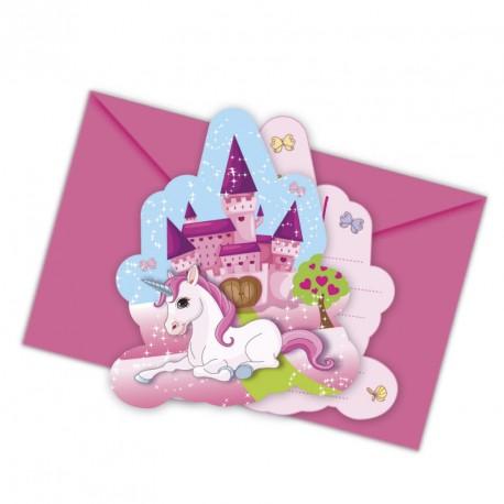 6 cartes d'invitation Licorne + Enveloppe pour introduire une fête d'anniversaire magique au pays des licornes.